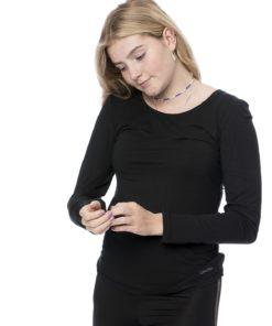 Calvin Klein sort langærmet bluse 000QS5923E, BlondeHuset