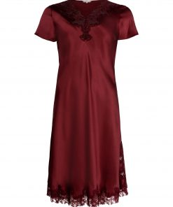 Lady Avenue silke natkjole med kort ærme 29-80604, BlondeHuset